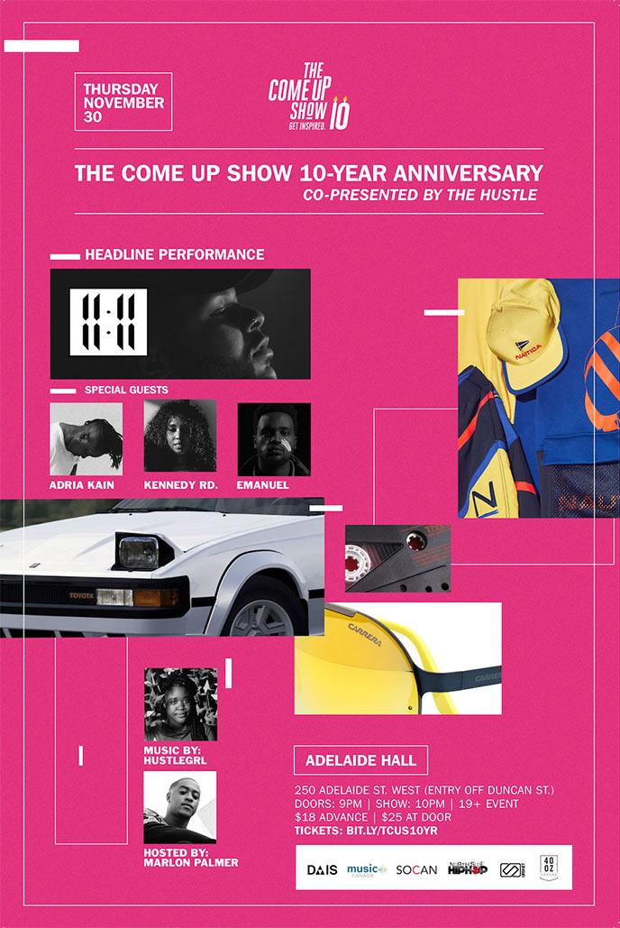 11:11 to headline The Come Up Show celebration Nov. 30