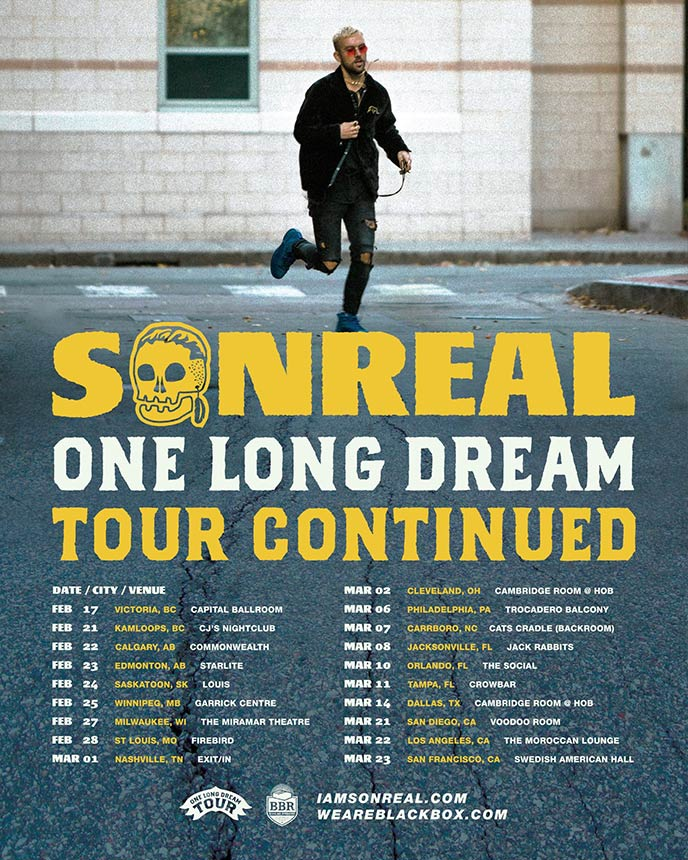 SonReal releases dates for One Long Dream Tour Continued