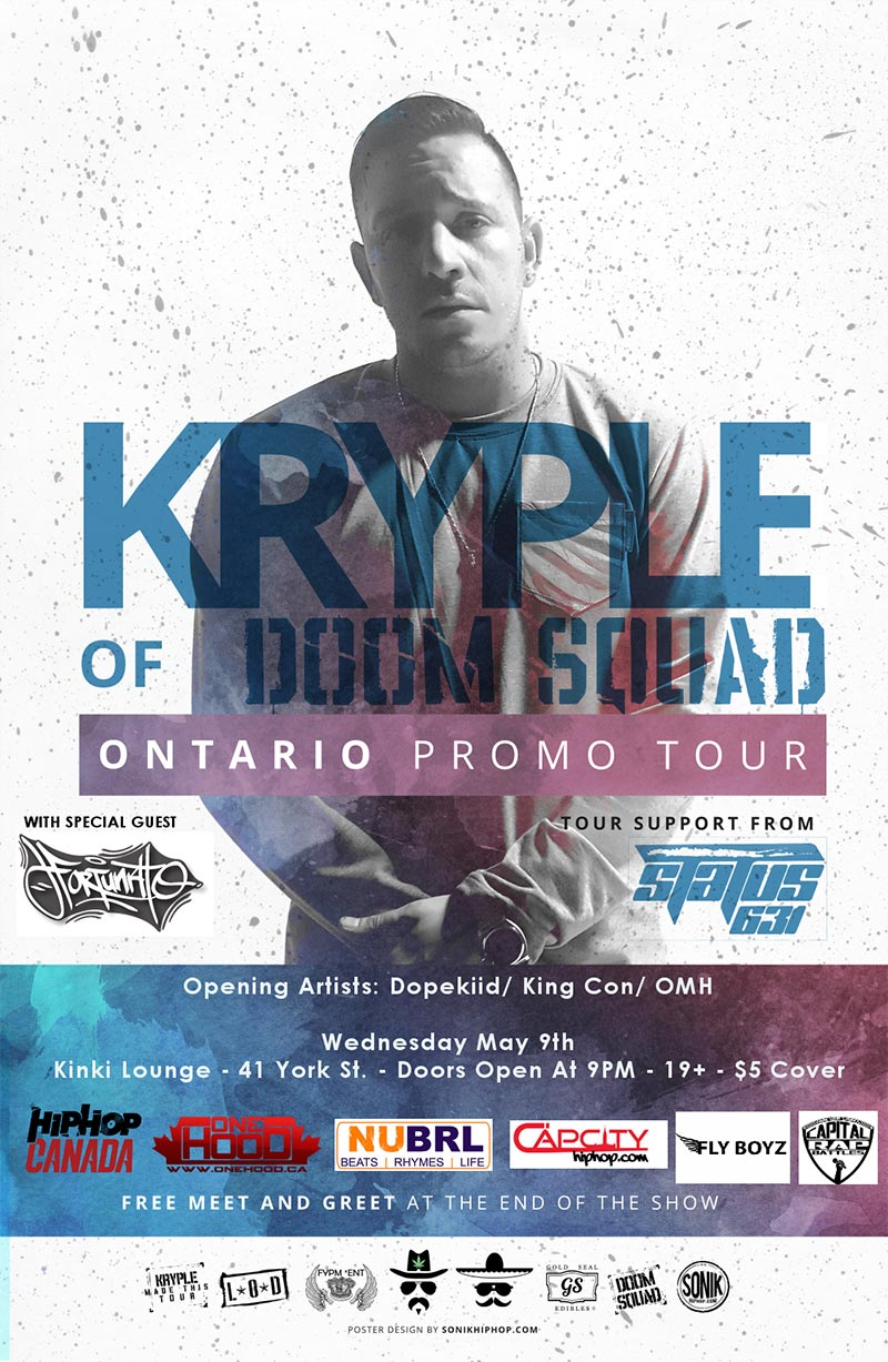 Kryple and special guest Fortunato bring Ontario Promo Tour to Ottawa on May 9