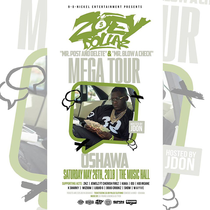 Zoey Dollaz brings MEGA TOUR to Oshawa on May 26
