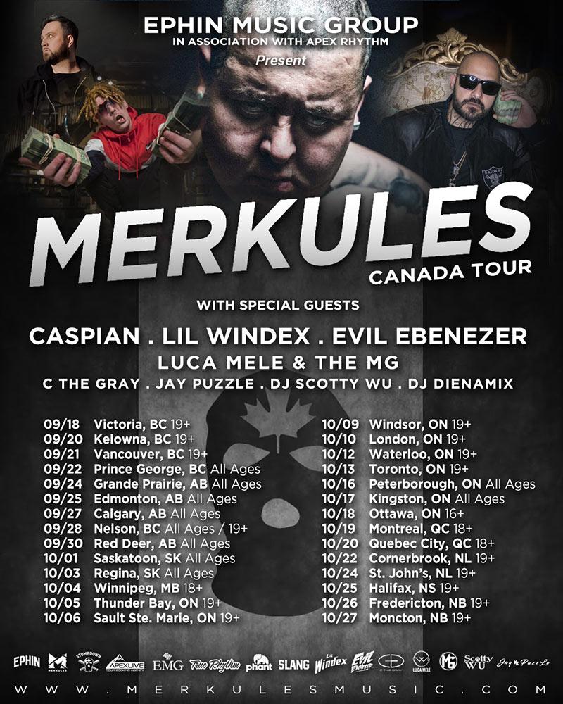 Merkules Canada Tour: 25+ dates starting in September