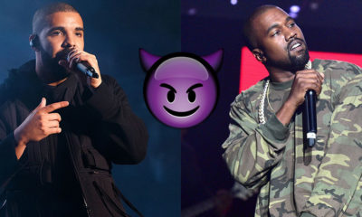 Drake trolls Kanye West with purple demon emoji