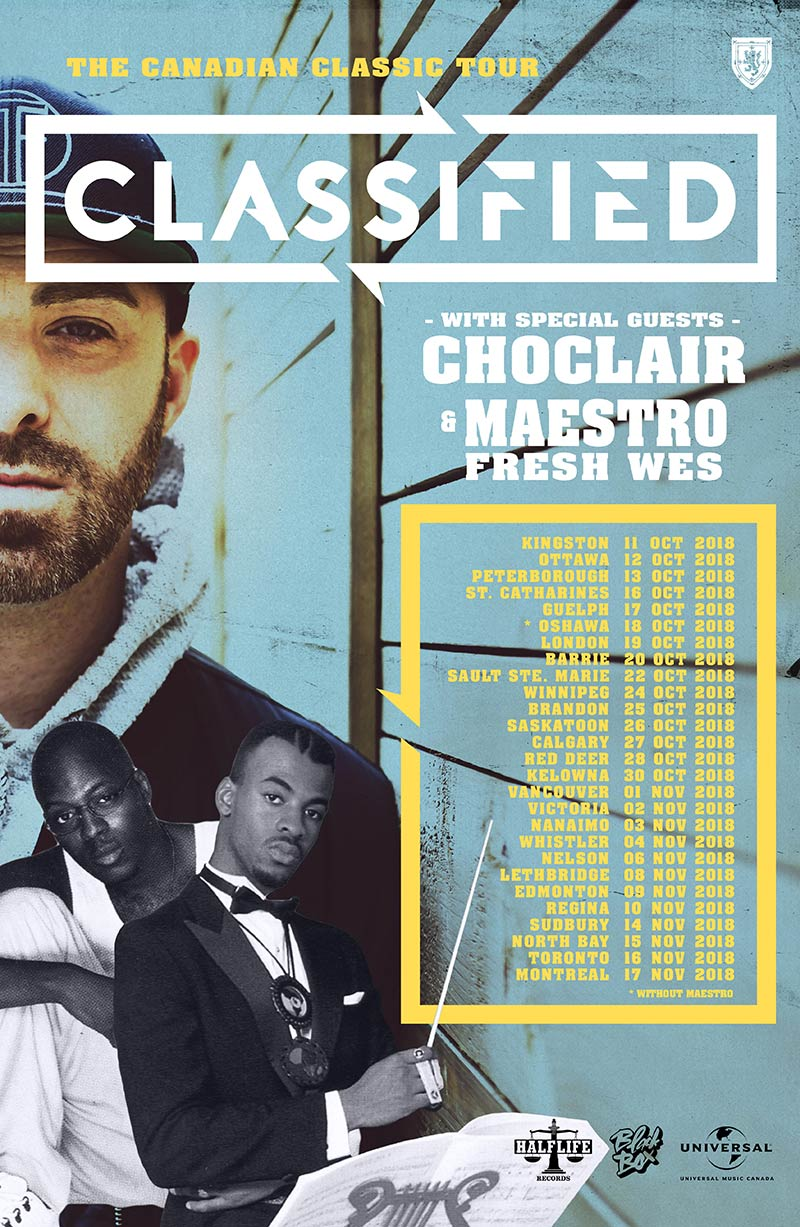 Classified to bring Choclair and Maestro Fresh Wes on The Canadian Classic Tour