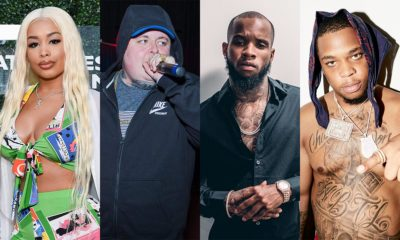 This is a photo of DreamDoll, Merkules, Tory Lanez, and Don Q. The Tory Lanez Beef Saga continues.