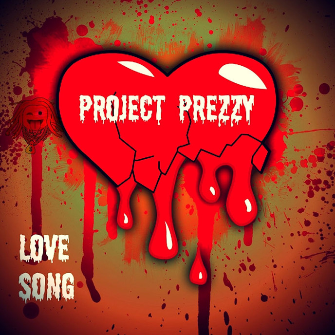 Artwork for Love Song single by Ottawa rapper Project Prezzy; the image features the song title and the artist name on top of a bleeding heart.