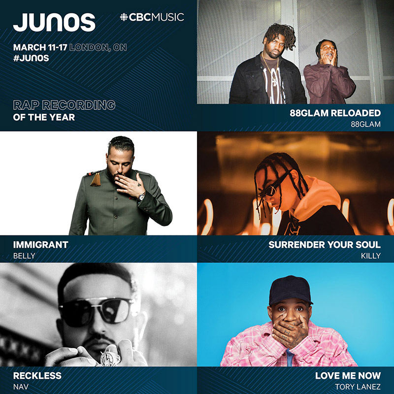 JUNO Awards 2019: Nominees announced for Rap Recording of the Year