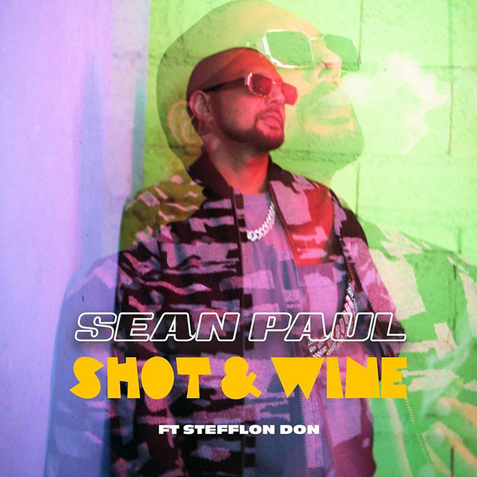 The artwork for the new Sean Paul single Shot and Wine, featuring Stefflon Don. It features a photo of Sean Paul wearing sunglasses.