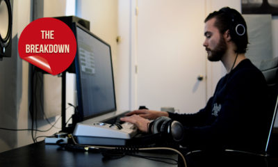 Vancouver recording artist and producer DEO is featured sitting at his computer, working with studio software.