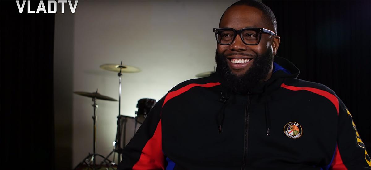 A screenshot of Killer Mike being interviewed on VladTV.