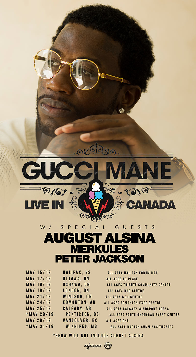 Gucci Mane announces Canadian tour featuring Merkules and Peter Jackson