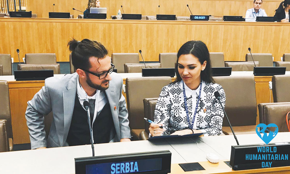 Filip Filipi (left) prepares to give a speech at the UN.