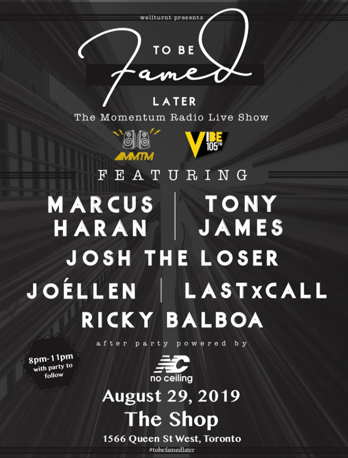 August 29th: Momentum Radio Brings Us - To Be Famed Later