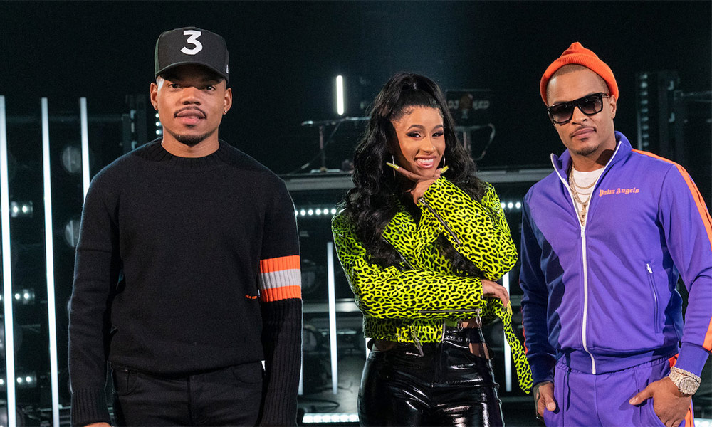 Photo of Chance the Rapper, Cardi B, and T.I. at a photoshoot for the new Netflix series Rhythm + Flow.