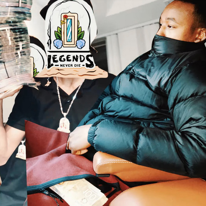 Artwork for the new Mo-G single Legends. The artwork features Mo-G sitting on a couch with his face partially covered.
