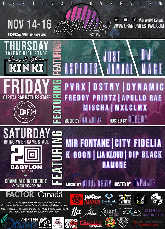 Nov. 14-16: Cranium Festival to feature Pvrx, City Fidelia, Dynamic, Aspects, Dip Black and more