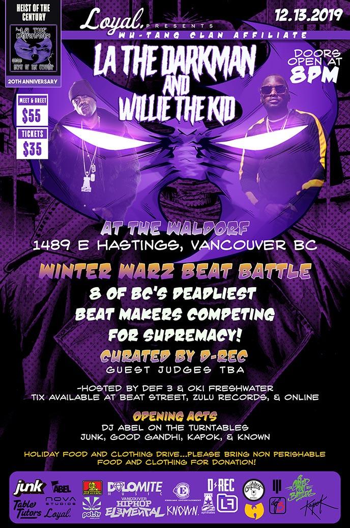 Dec. 13: La The Darkman and Willie The Kid to headline the Winter Warz Beat Battle in Vancouver