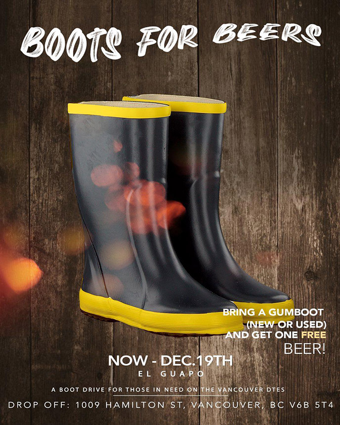 Dec. 19: Boots for Beers in Vancouver to feature Brevner, Boslen, Junk, Chin Injeti and more