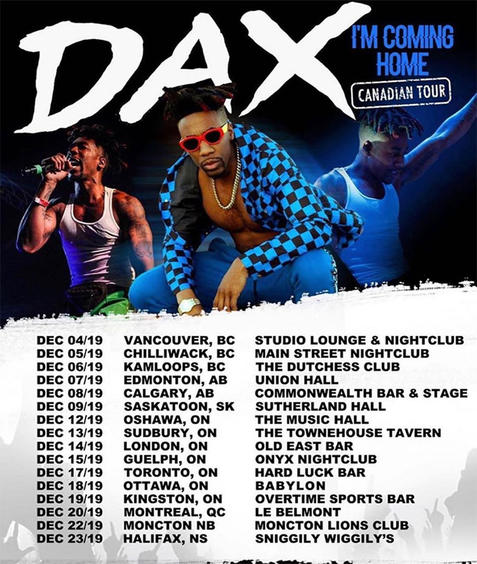 Dec. 4: Dax kicks off Canadian tour in Vancouver at Red Room
