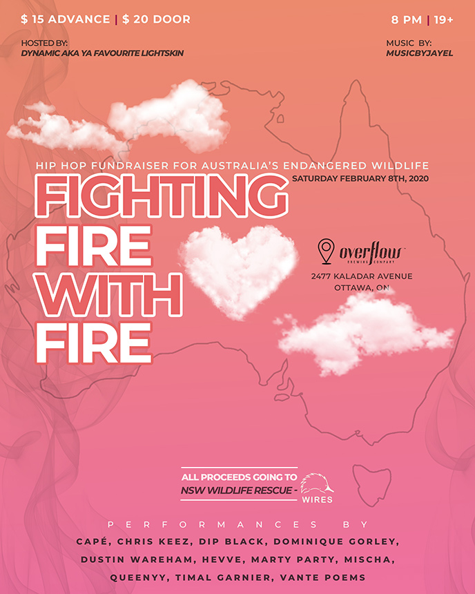 Feb. 8: 11 artists to perform in Ottawa at Fight Fire with Fire in support of endangered Australian wildlife