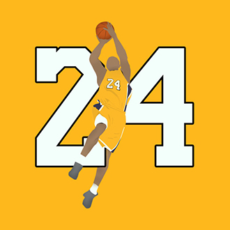 The number 24 and a silhouette of Kobe Bryant