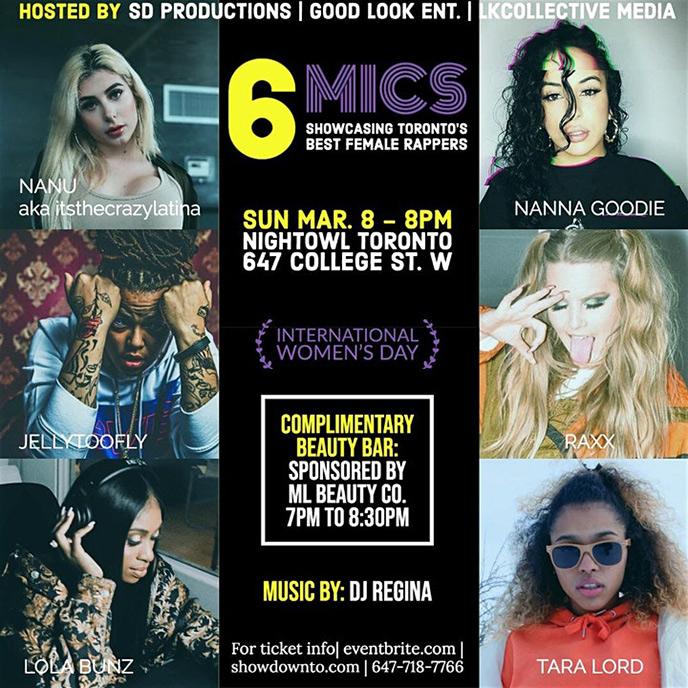 6 Mics showcase to feature Nanu, JellyTooFly, LolaBunz, Nanna Goodie, RAXX and Tara Lord