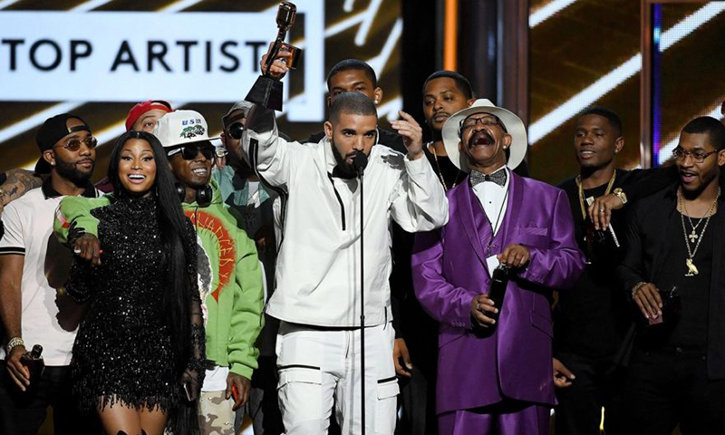 Drake and various members of OVO on stage at the 2017 Billboard Music Awards
