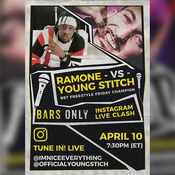 April 10: Ramone and Young Stitch to battle on IG Live