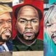 Murals of 50 Cent depicted as different celebrities by Lushsux