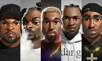 Alex Alvardo designs of Ice Cube, Snoop Dogg, Kanye West, Kendrick Lamar, Tupac Shakur