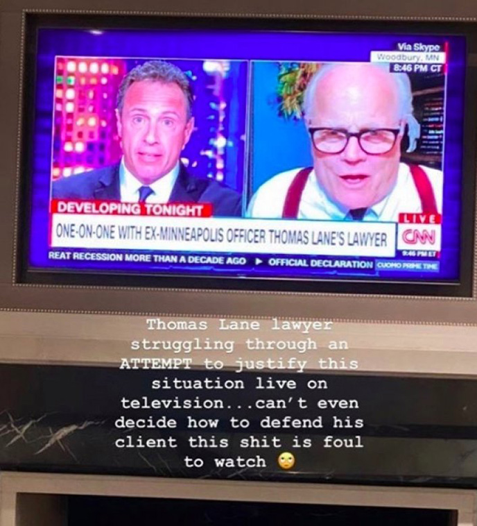Screenshot of Drake commenting on suggestions made by the lawyer for Thomas Lane on CNN