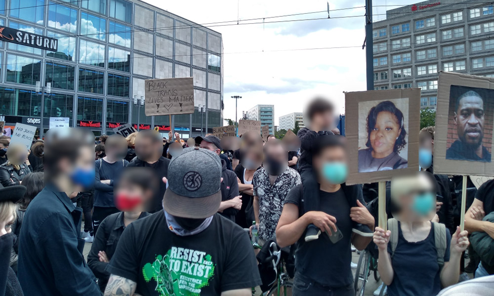 A protest against racism in Berlin, Germany, on June 6, 2020