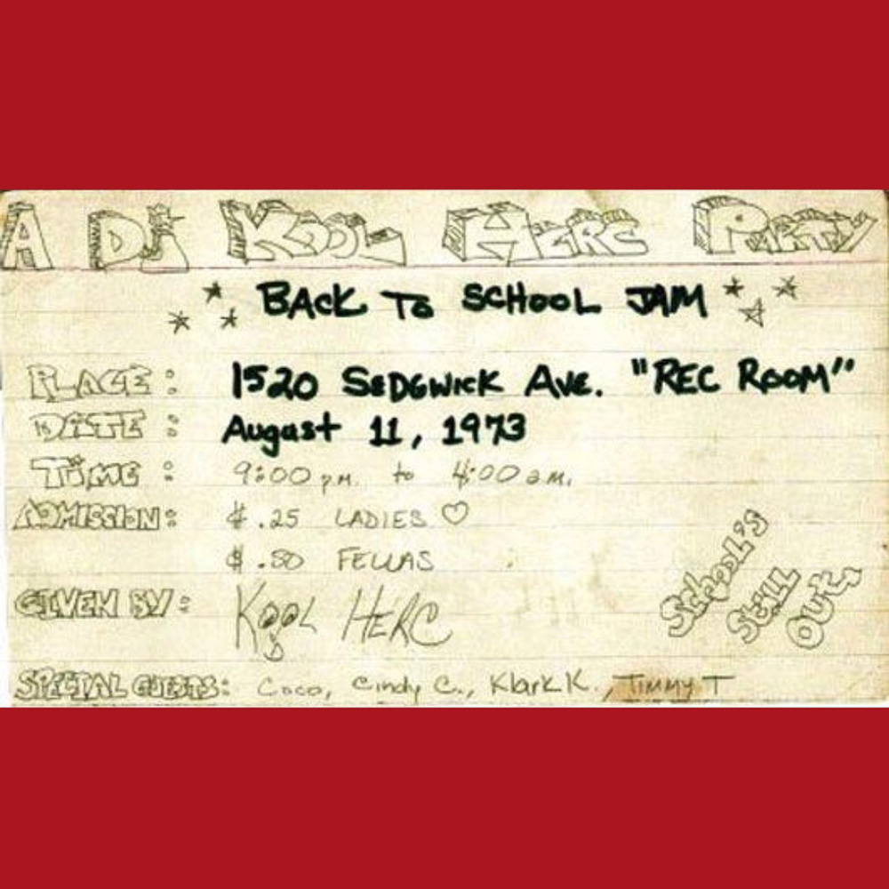 Flyer for the Aug. 11, 1973 DJ Kool Herc party
