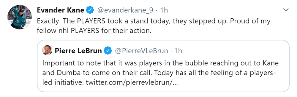 Tweet by Evander Kane expressing disappointment in the NHL