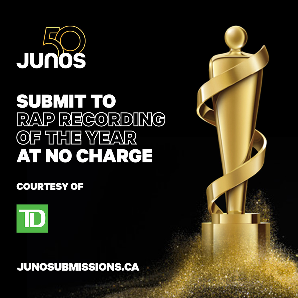 CARAS: Submitting to the JUNOs for Rap Recording of the Year is FREE